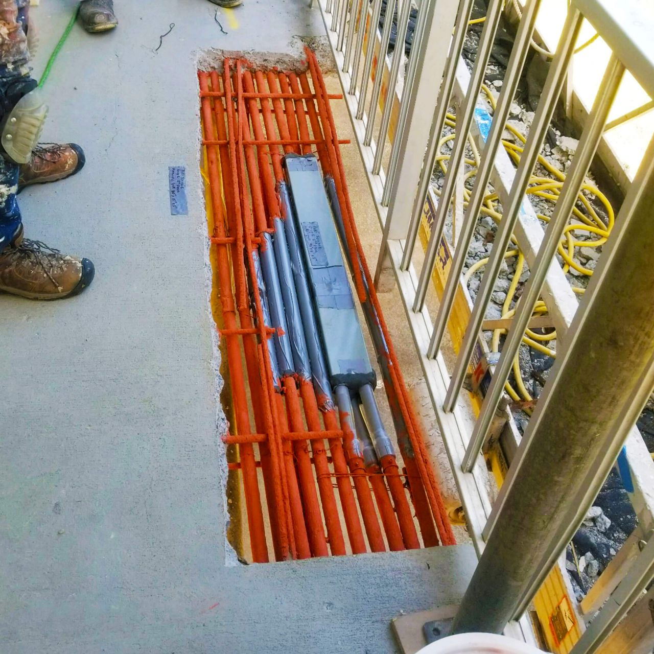 exposed rebar on deck