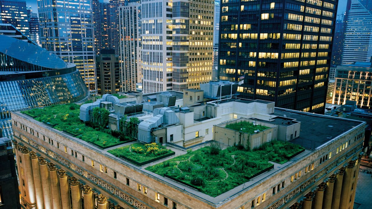 A green roof on top of a skyscraper in Chicago