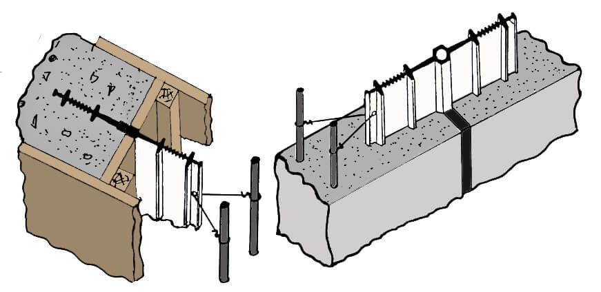 Drawing of PVC Waterstop Anchored in Concrete