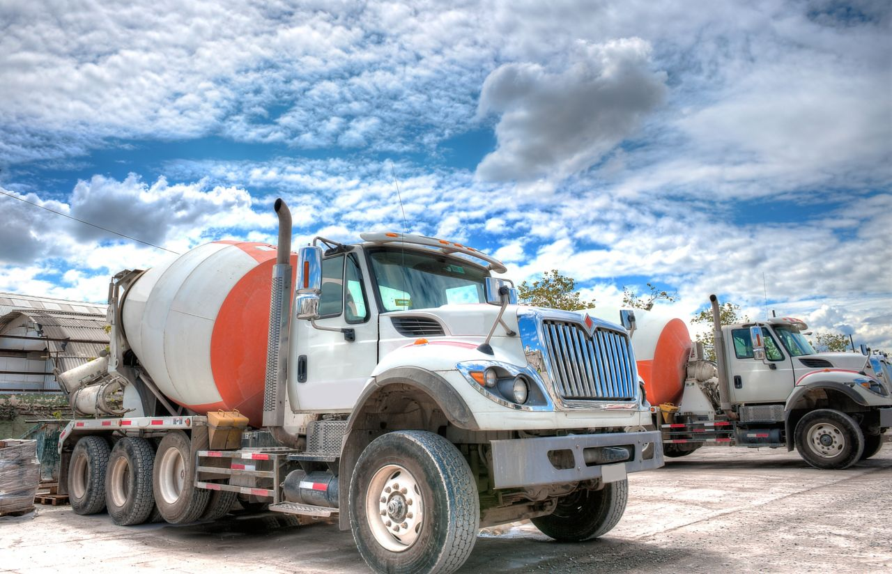 Great HDR shot of a mixer truck parked in a concrete company