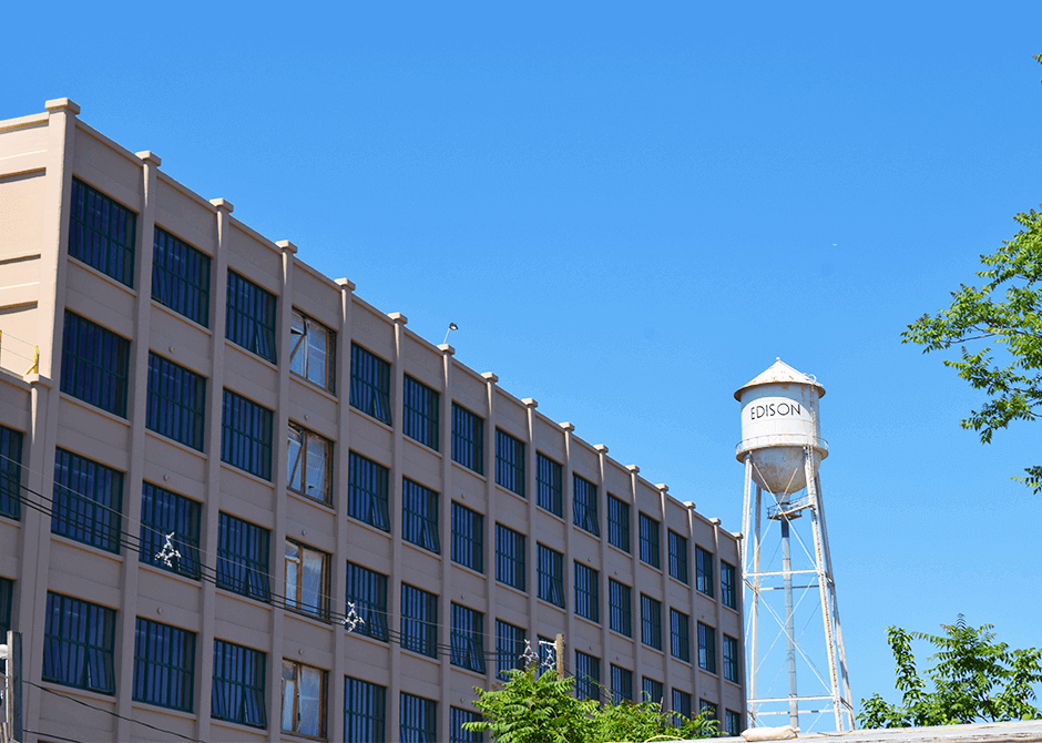 Edison Battery Building after restoration project with tower in background