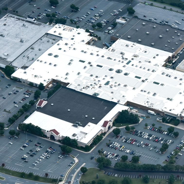 Aerial view of the Francis Scott Key Mall with a Sarnfil membrane on the top