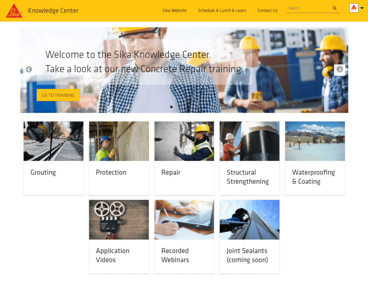 knowledge center landing page