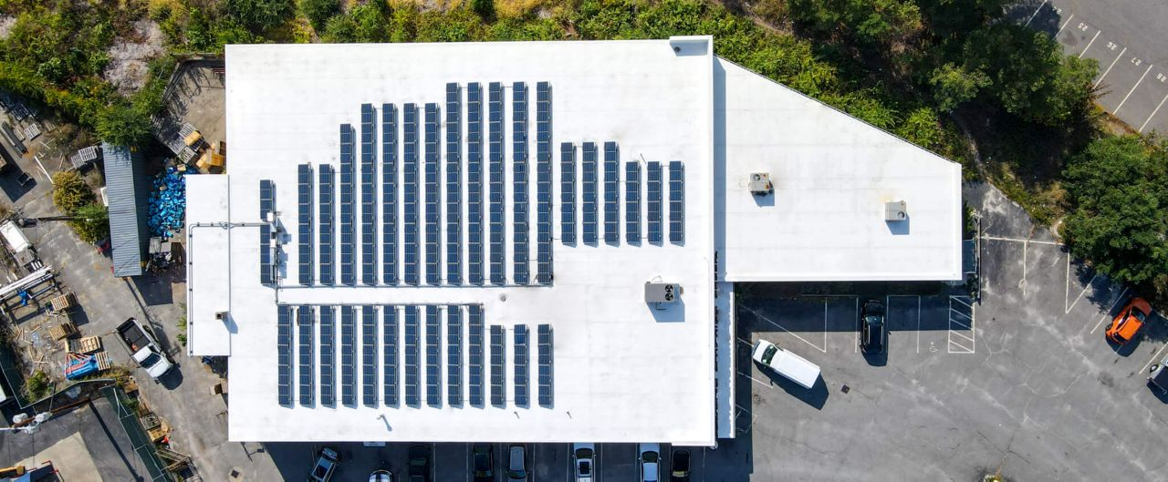 Ariel view of the Republic Plumbing Supply building with solar panels