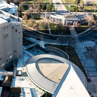 Aerial view of the Denver Art Museum showing a white Sarnafil membrane roof on multiple buildings.