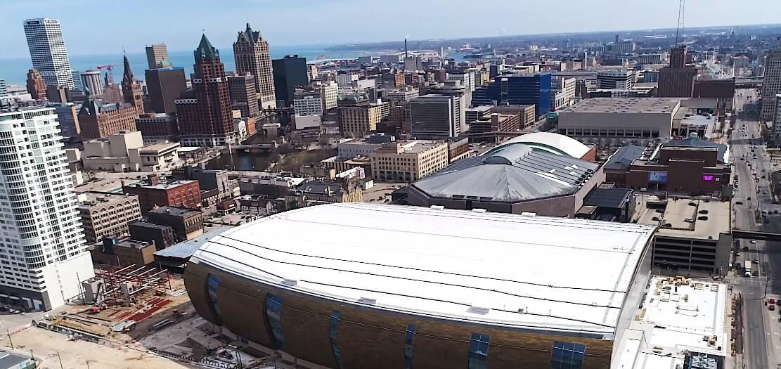 Ariel view of the Fiserv Arena