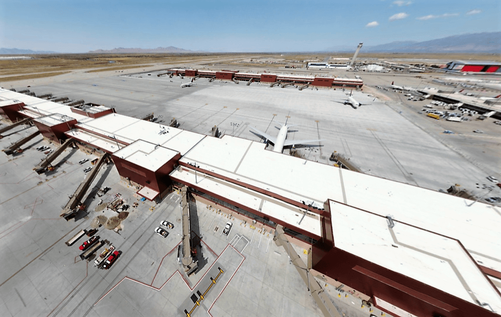 Salt Lake City International Airport Airel View with a Sarnafil Membrane Roofing System