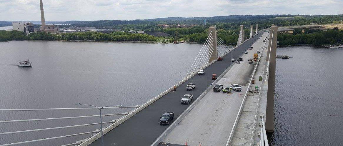 concrete repair underneath a bridge