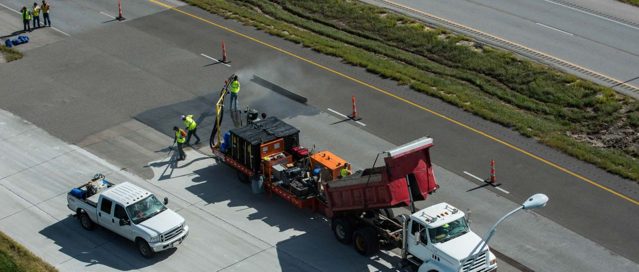 drone footage of highway surface repair