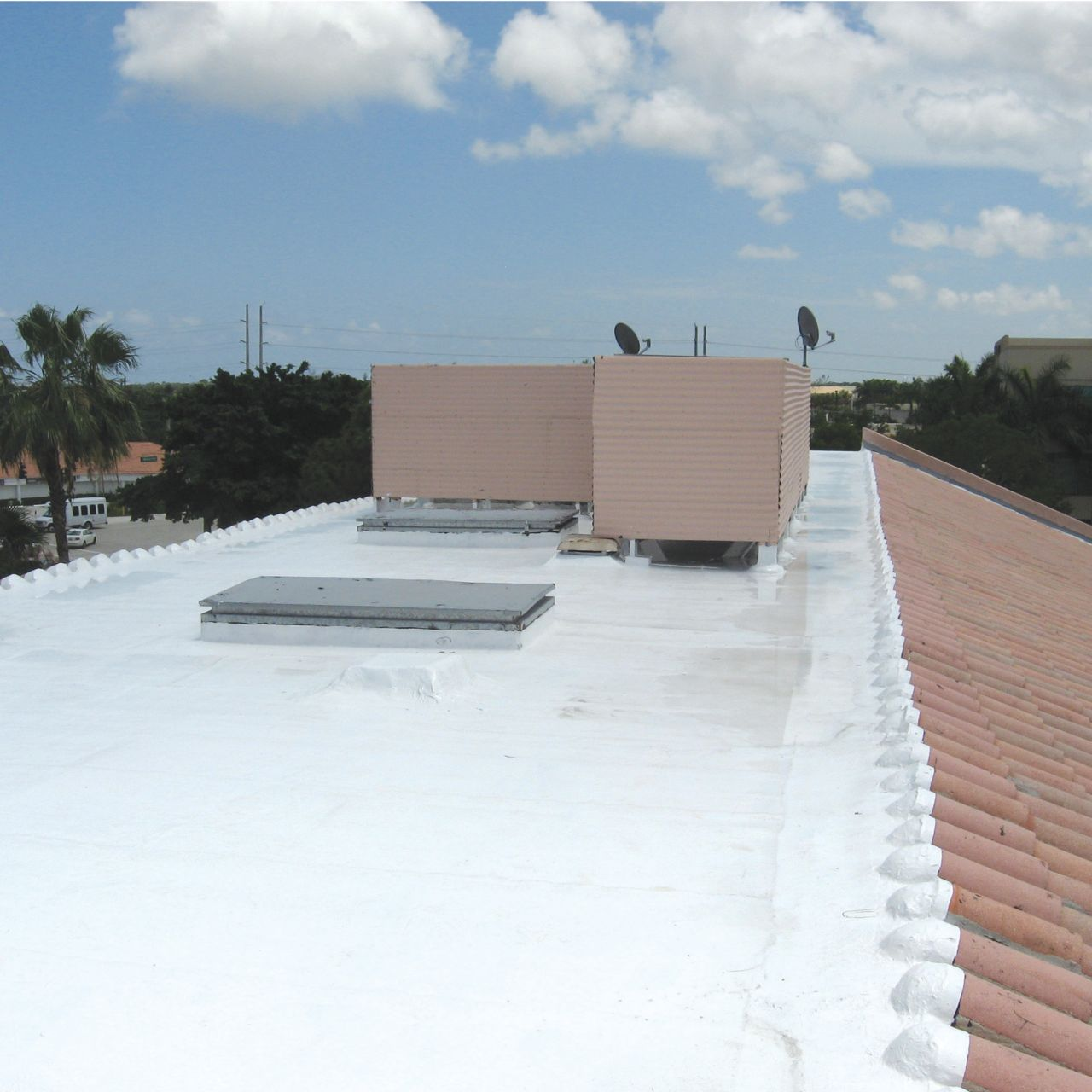 roof with white sikalastic applied