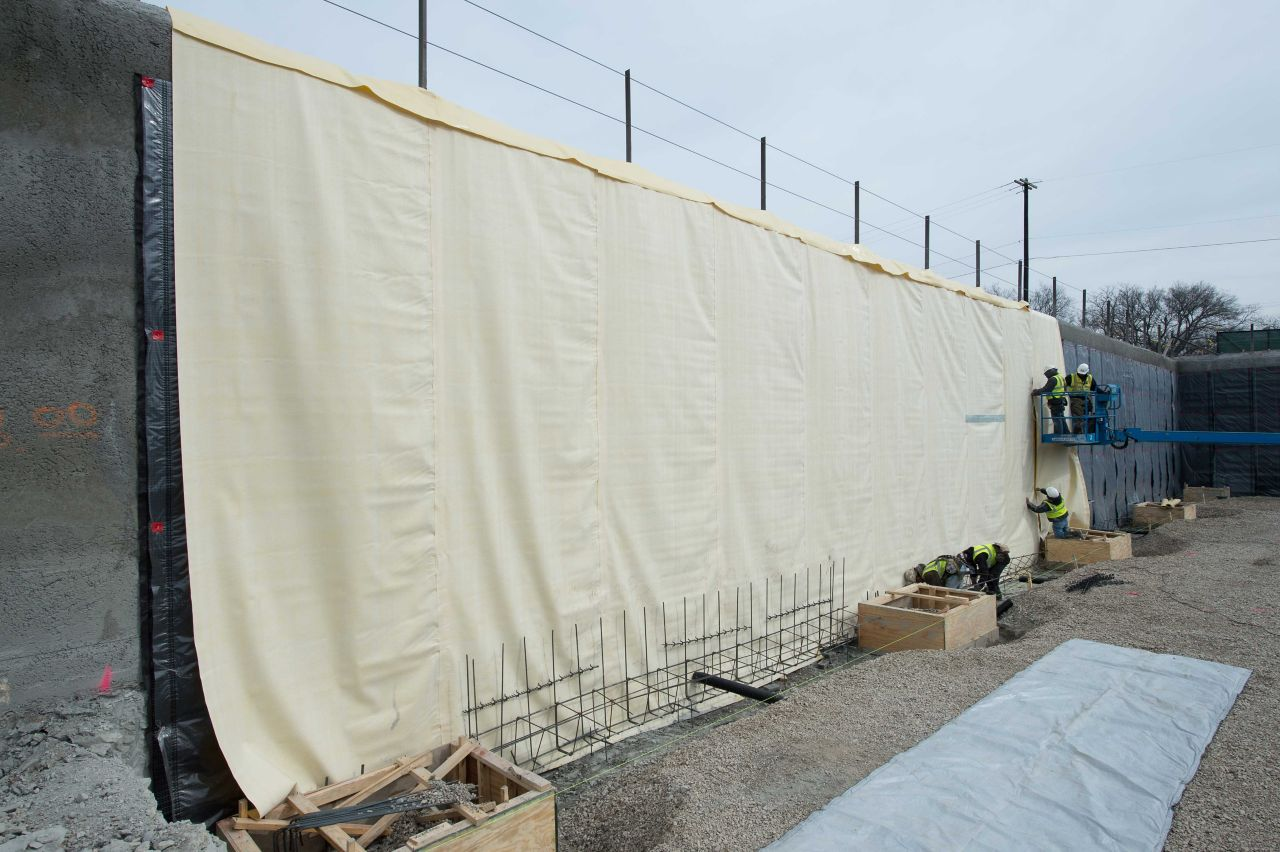 SikaProof installation on foundation wall