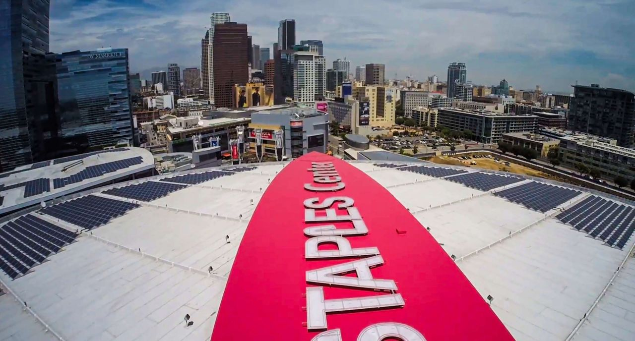 Staples Arena with a Sarnafil Roof and logo