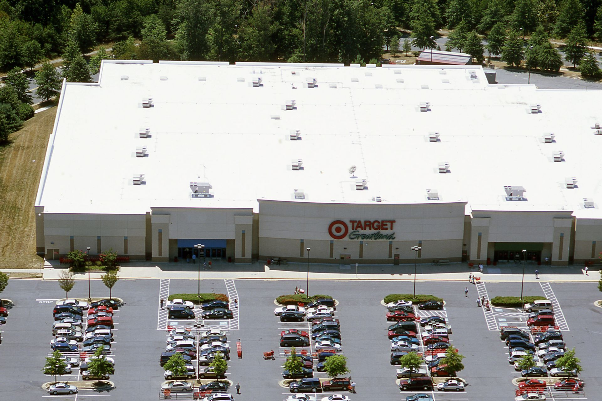 White Sarnafil membrane roof on top of the Target in Silver Springs Maryland