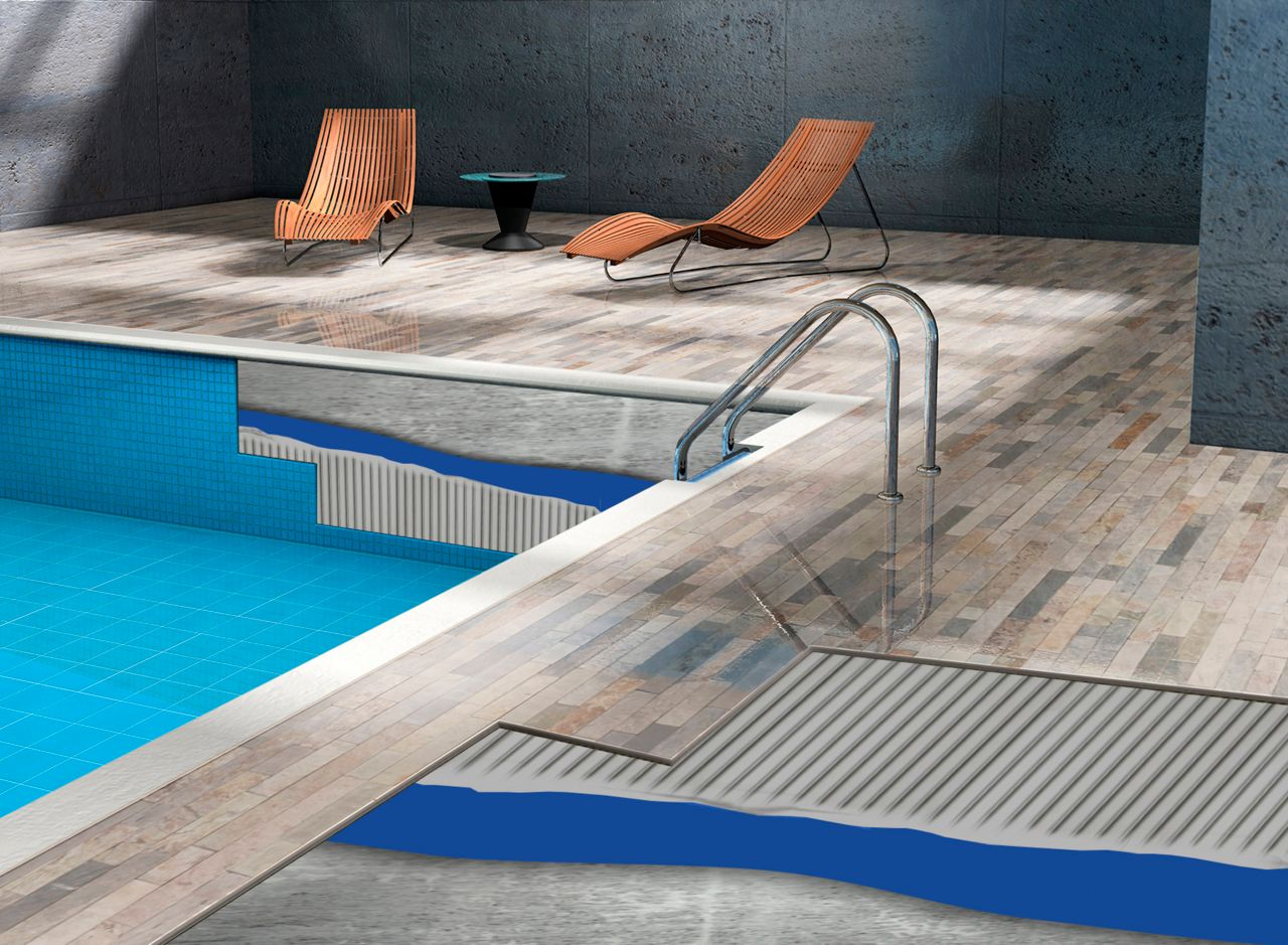 Application variety of SikTile® products around swimming pools