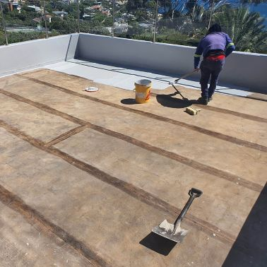 Application of  Sikalastic® -560, a one-component, liquid applied roof, waterproofing solution.