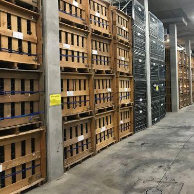 Old floor of Graham Beck Wine Estate's bottling and storage area