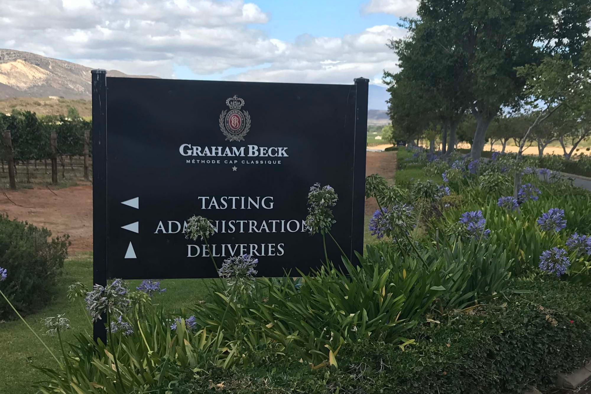 Welcome board at Graham Beck Wine Estate, situated in the Breede River Valley